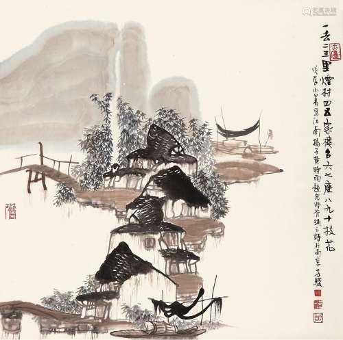 方骏(b.1943) 烟邨四五家 立轴 设色纸本