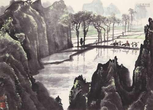 张步(b.1934) 山水 立轴 设色纸本