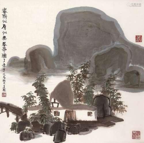 方骏(b.1943) 春雨 立轴 设色纸本