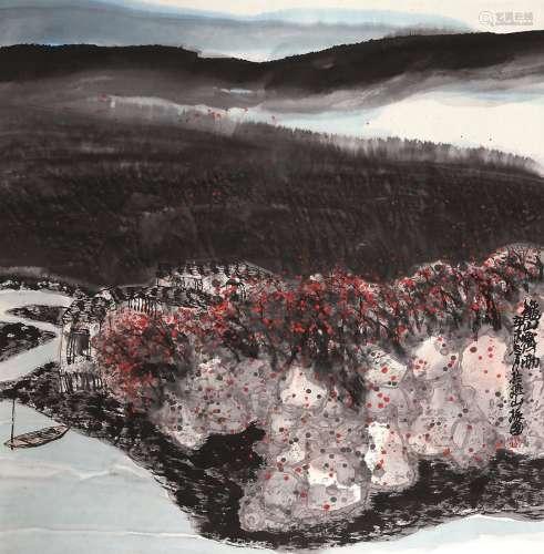 程振国(b.1946) 秋山霁雨 立轴 设色纸本