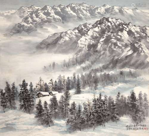 侯声凯(b.1945) 阿尔卑斯山写生 立轴 设色纸本