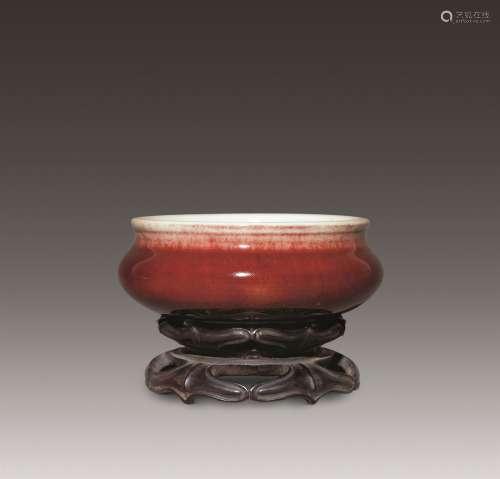 清早期 宝石红釉炉