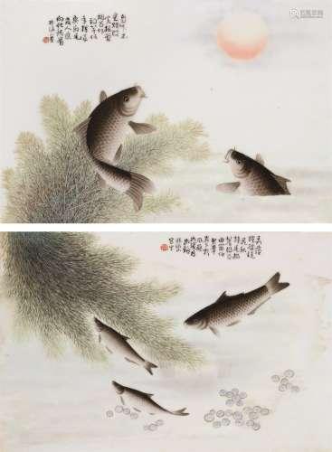 民国 张洛山粉彩鱼藻瓷板 (一对)