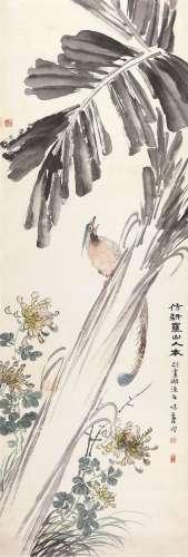 郭味渠(1908~1971) 禽鸟花卉图 立轴 设色纸本