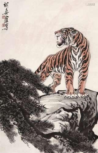 胡爽盦(1916~1988) 虎啸图 立轴 设色纸本