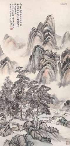 樊浩霖(1885~1962) 茂林高石 立轴 设色纸本