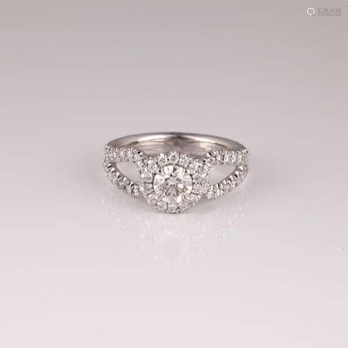 APP: 7.3k *14 kt. White Gold, 1.07CT Round Cut Diamond