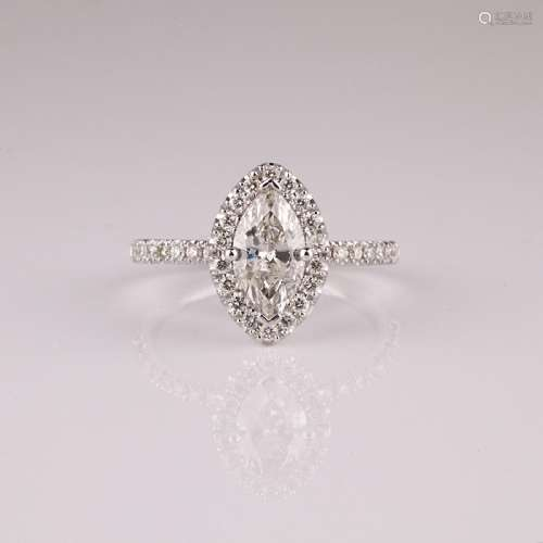 APP: 7.8k *14 kt. White Gold, 1.22CT Diamond Ring (NG