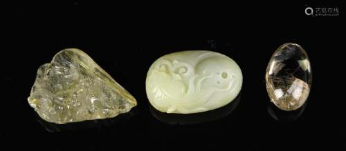 Chinese Jade Pendant and Two Crystal Pendants