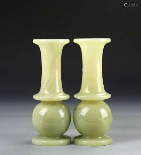 Pair of Chinese Marble Vases