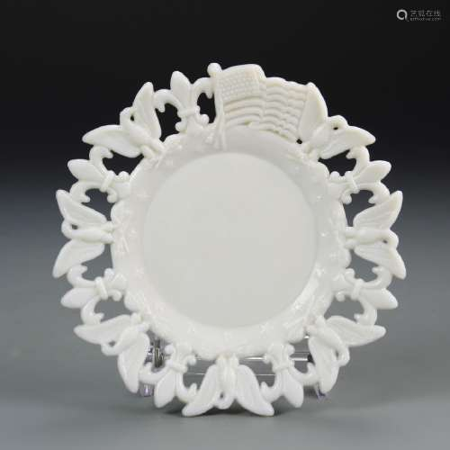 Milk Glass Plate with Flag and Eagle