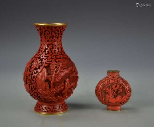 Chinese Cinnabar Vase and Snuff Bottle