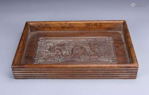 Chinese Wood Tray with Dragon Motif
