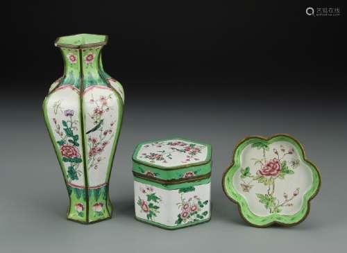 Three Chinese Enameled Items