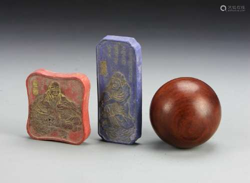 Two Chinese Ink Cakes and a Huanghuali Ball