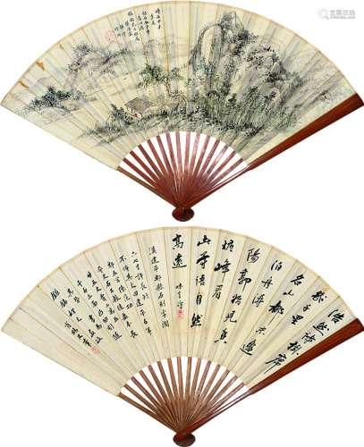 樊浩霖(1885~1962) 山水 成扇 设色纸本