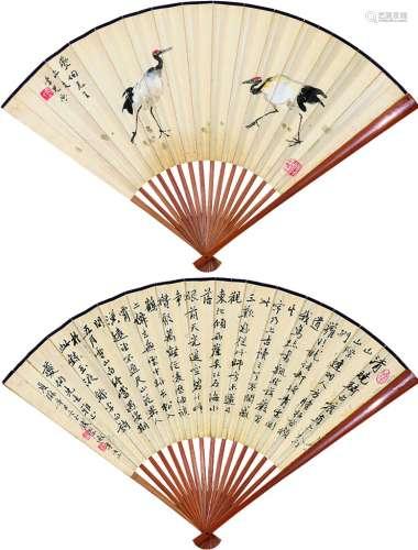 张聿光(1885~1968) 钱崇威(1870~1968) 双鹤 书法 成扇 设色纸本