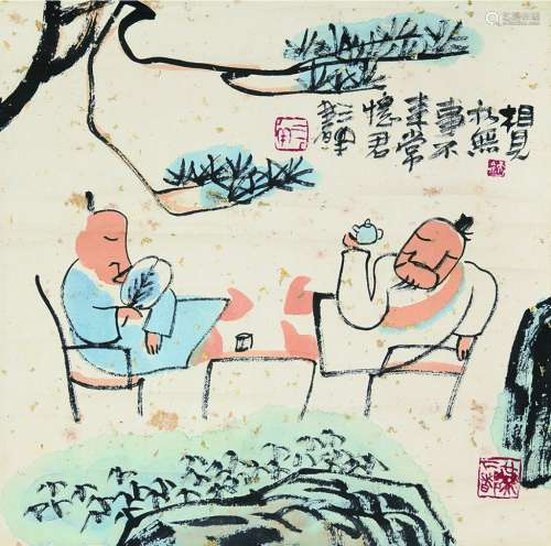 刘二刚 相见亦无事 立轴 设色纸本