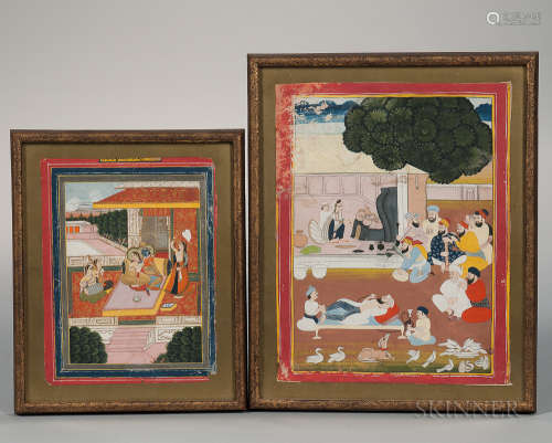 Two Mughal-style Miniature Paintings 两幅印度小型绘画