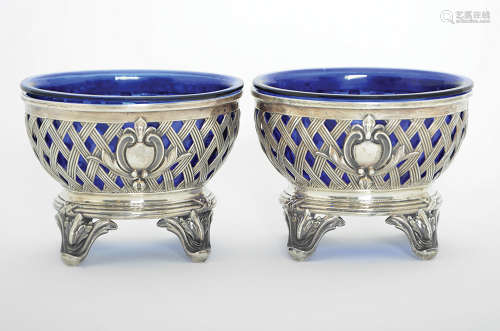 A PAIR OF FRENCH SILVER SALTS