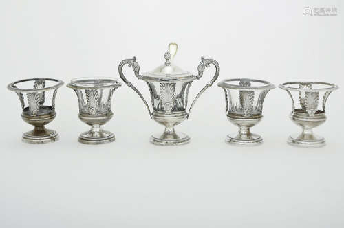 FIVE FRENCH EMPIRE SILVER SALTS