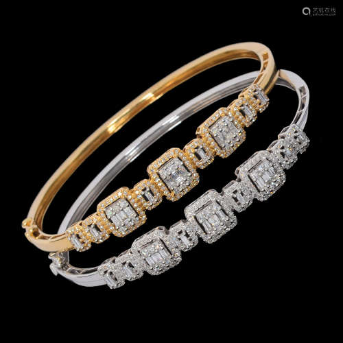 A PAIR OF STIFF 14K WHITE AND YELLOW GOLD BRACELETS