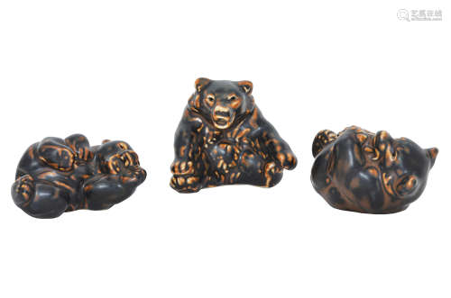 THREE ROYAL COPENHAGEN PORCELAIN PLAYFUL BEAR CUBS