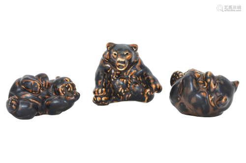 THREE ROYAL COPENHAGEN PORCELAIN PLAYFUL BEAR CUBS