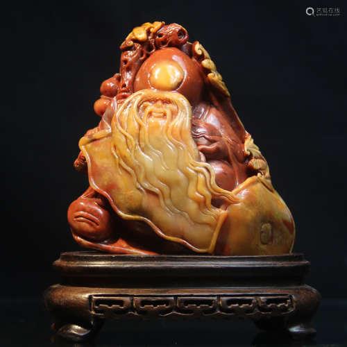 """老挝石圆雕""""仁者寿""""老寿星摆件"""