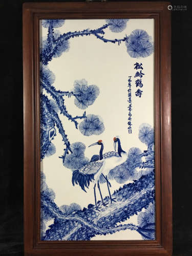 Chinese Blue and White Panel with Wood Frame Painted with Crane and Pine Tree Marked