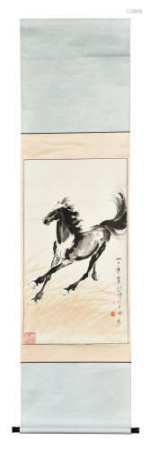 XU BEIHONG: INK AND COLOR ON PAPER PAINTING 'HORSE'