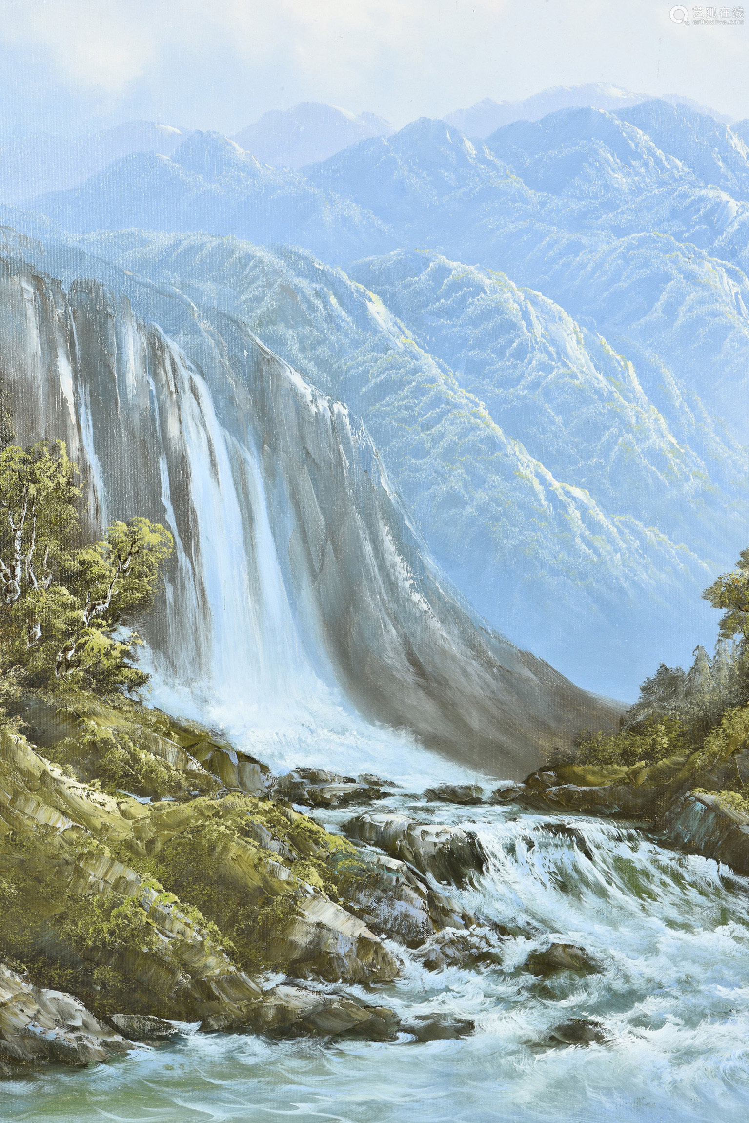 R. BOREN: FRAMED OIL PAINTING ON CANVASS 'WATERFALL'
