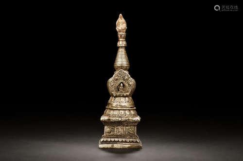 BRONZE CAST BUDDHIST PAGODA