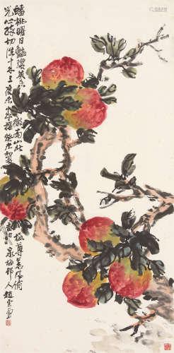 赵云壑(1874~1955) 1943年作 蟠桃 立轴 设色纸本