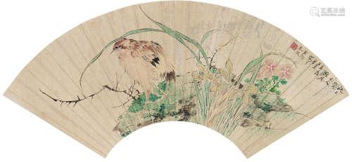 任熏(1835~1893) 花鸟 扇面 设色金笺