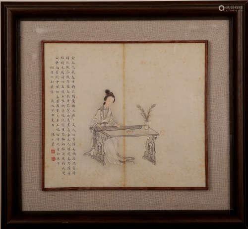 陈小翠 仕女 纸本镜框
