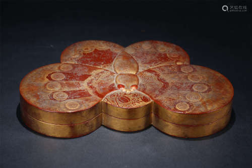 A Chinese Lacquer Box with Cover