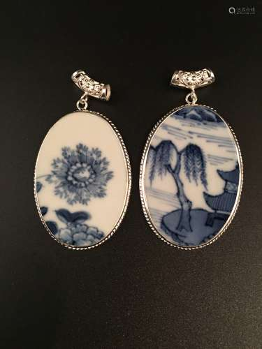 Pair Ming Blue and White Pendant with Silver