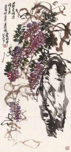 曹用平(b.1922) 乙酉(2005)年作 藤花烂漫 软片 设色纸本