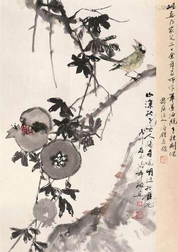 张辛稼(1909~1991) 戊午(1978)年作 石榴小鸟 立轴 设色纸本