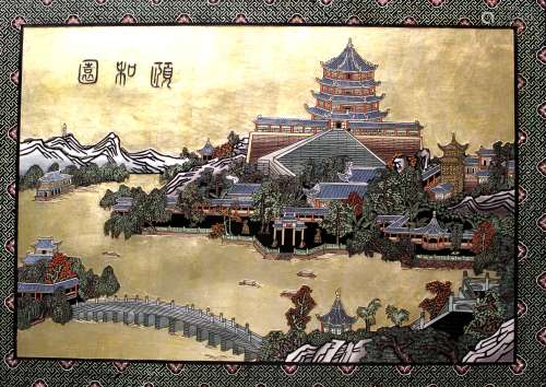 Chinese carved wood panel of the Summer Palace, framed.