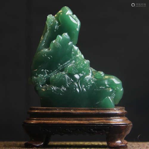 """西安翡翠绿圆雕""""山居即景""""摆件"""