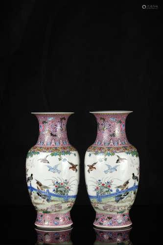 粉彩花鸟瓶(一对)