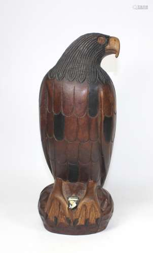 ANTIQUE CARVED WOODEN EAGLE