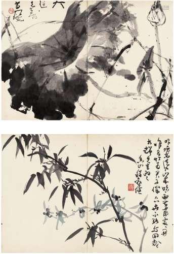 杨善深(1913~2004)  程观俭(1918~?) 墨荷·兰竹图 (二帧) 镜片 水墨纸本·设色纸本