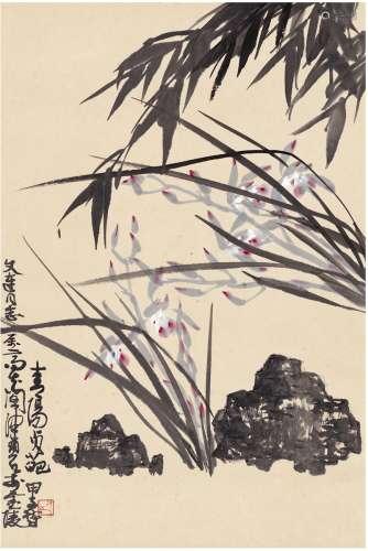 陈佩秋(1923~) 1984年作 青阳贞葩图 立轴 设色纸本