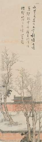 溥儒(1896~1963) 古寺图 镜片 设色纸本