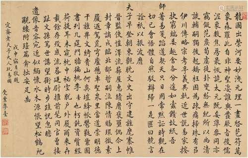 李台(清·乾隆) 楷书 陈法玩易图题咏 镜片 纸本