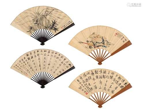 吴华源(1893~1972)  朱峻(1877~1955)  杨庶堪(1880~1942) 人物·花鸟·书法 (二把) 成扇 设色纸本·水墨纸本