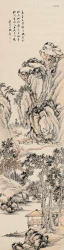 顾澐(1835~1896) 临流对坐图 立轴 设色纸本